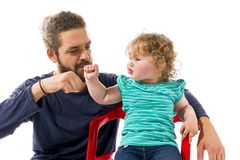 Cool dad with baby high five Royalty Free Stock Photo