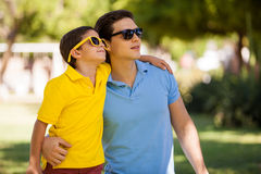 Cool dad and son wearing sunglasses Stock Image
