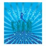 Cool dance. Silhouette dance Forming blue bubbles - gradient background Stock Photos
