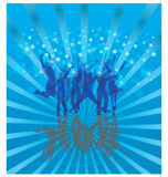 Cool dance on blue. Silhouette dance on blue gradient background Stock Images