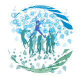 Cool dance and forming bubbles. Silhouette dance Forming blue bubbles Stock Photo
