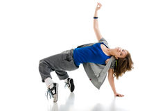 Cool dancer. Cool breakdancer isolated on white stock image