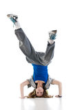 Cool dancer. Cool breakdancer isolated on white stock photo