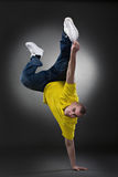 Cool dancer man. On gray background Royalty Free Stock Photos