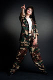 Cool dancer in military uniform Royalty Free Stock Images
