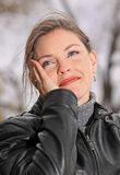 Cool day. Woman thinking in nature during fall Stock Image