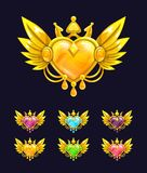 Cool decorative heart with golden wings and crown. Vector icons for game or web design Royalty Free Stock Photo