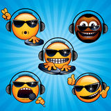 Cool Deejay 1. Party DJ Smileys. Variety vector Deejay Faces for your icons, avatars, logos Royalty Free Stock Image