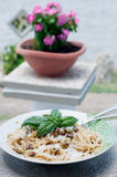 Cool and delicious pasta with lemon, arugula and pine nuts. Italy royalty free stock images