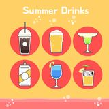Cool and delicious summer drinks stock illustration
