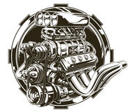 Cool detailed hot road engine with skull tattoo Royalty Free Stock Image