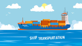 Cool detailed vector design element on seagoing freight transport with loaded container ship. Modern global cargo Stock Images
