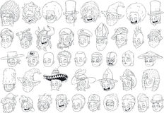 Cool different cartoon black and white characters heads Stock Photos