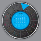 Cool digital rotateable calendar for 2014 Stock Photo