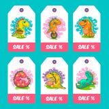 Cool Dino doodle vector cards Stock Photos