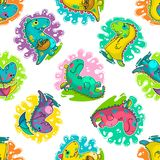 Cool Dino doodle vector pattern Royalty Free Stock Photos