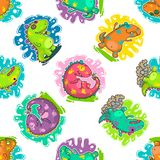 Cool Dino doodle vector pattern Royalty Free Stock Photo