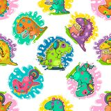 Cool Dino doodle vector pattern Stock Photos