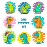 Cool Dino doodle vector stickers Royalty Free Stock Photo