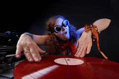 Cool DJ. With LP Stock Images