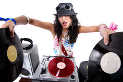 Cool DJ in action. Isolated on white Stock Images