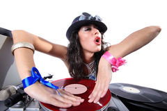 Cool DJ in action. Cool DJ  in action isolated on white Royalty Free Stock Photo