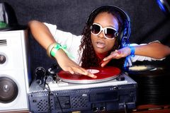 Cool DJ in action Royalty Free Stock Photo