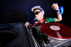Cool DJ in action Royalty Free Stock Image