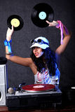 Cool DJ in action Stock Photo