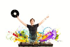 Cool DJ playing music Royalty Free Stock Photos