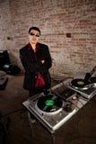 Cool DJ pose Royalty Free Stock Image