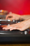 Cool dj spinning the decks Stock Photo