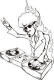 Cool DJ twisting records Stock Photos