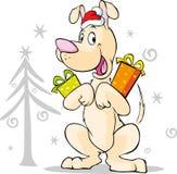 Cool dog with xmas gift and santa hat - vector Royalty Free Stock Photo