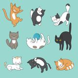 Cool doodle abstract cats vector characters. Hand drawn cartoon kittens. Animal funny character, feline mascot fluffy illustration Stock Photos