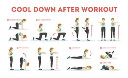 Free Cool Down After Workout Exercise Set. Collection Stock Photography - 154498672