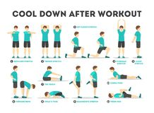 Free Cool Down After Workout Exercise Set. Collection Stock Image - 155128131