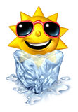 Cool down Refreshment. Relief concept with a hot vacation summer sun character in a frozen cold block of ice melting as a chilled comforting relaxation from the Stock Photography