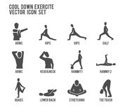 Cool Down Warm Up Exercise Stretching Workout Vector Icon Set. Website Browser Internet Error Spam Bug Protection Royalty Free Stock Photography