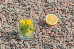 Cool drink of lemon and mint on the rocks. Stock Images