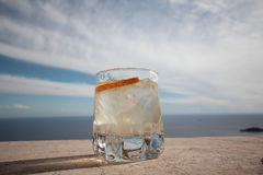 A cool Drink in she sun. A cool Drink on a terrace looking over the Mediterranean sea, France Stock Photography