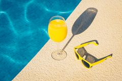 Cool drink and sunglasses. Are a must-have attribute of the resort royalty free stock photography