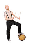 Cool drummer on white. Cool young drummer isolated on white background Stock Images