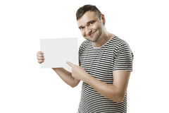Cool dude with card for your text Royalty Free Stock Images