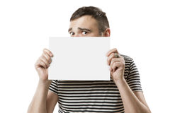 Cool dude with card for your text Stock Images