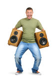 Cool dude with two speakers on white. Cool dude with two speakers isolated on white background stock image