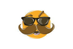 Cool Emoticon with big mustaches and glasses on eyes isolated on white for Mobile and Web. Vector Illustration. Isolated on white background Royalty Free Stock Photos