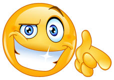 Cool emoticon pointing at you. Vector cool emoticon pointing at you Royalty Free Stock Image