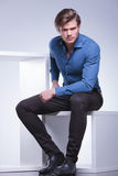 Cool fashion casual manl sitting Royalty Free Stock Photos