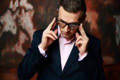 Cool fashion man in glasses standing Stock Photos
